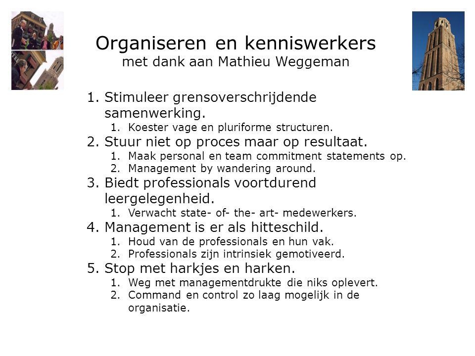 Organiseren en kenniswerkers met dank aan Mathieu Weggeman