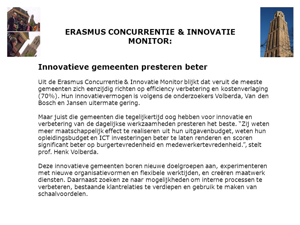 ERASMUS CONCURRENTIE & INNOVATIE MONITOR: