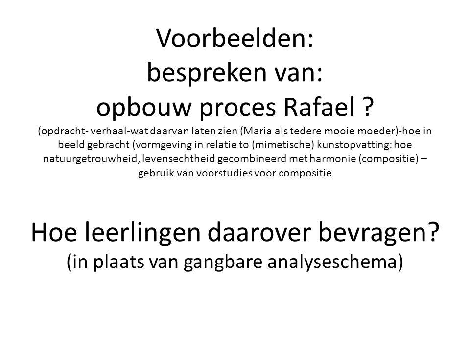 Voorbeelden: bespreken van: opbouw proces Rafael