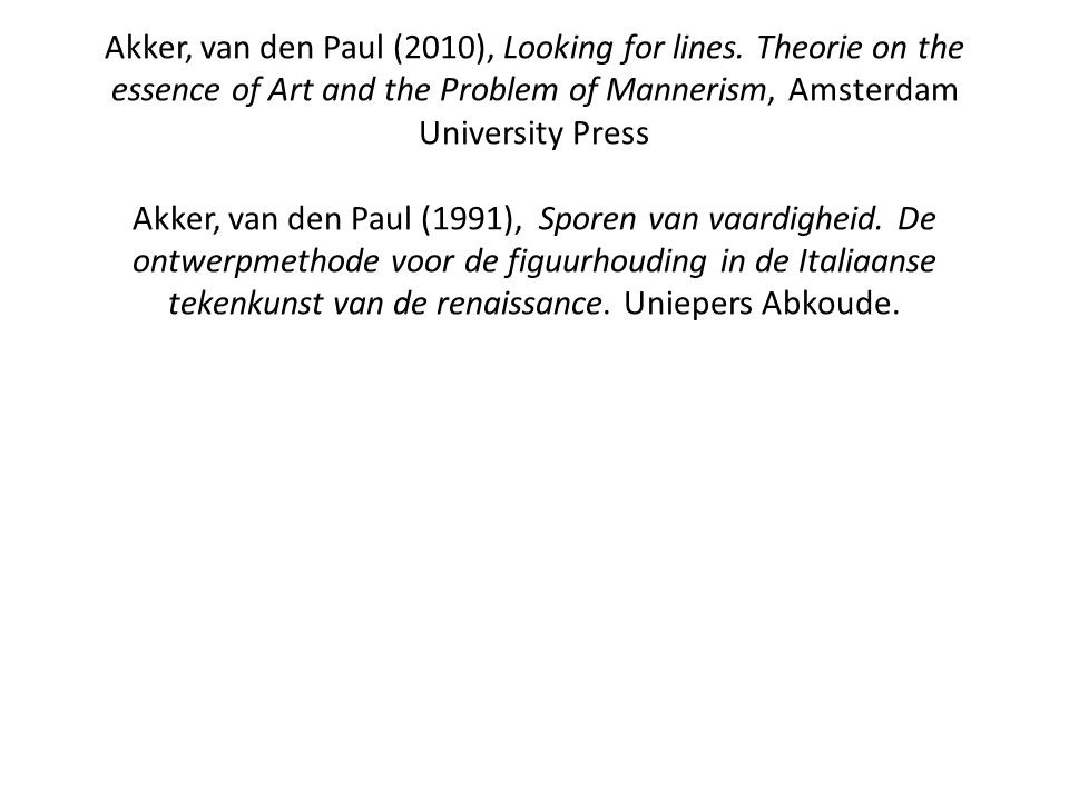 Akker, van den Paul (2010), Looking for lines