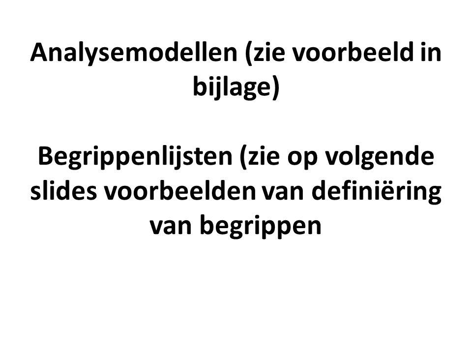 Analysemodellen (zie voorbeeld in bijlage) Begrippenlijsten (zie op volgende slides voorbeelden van definiëring van begrippen