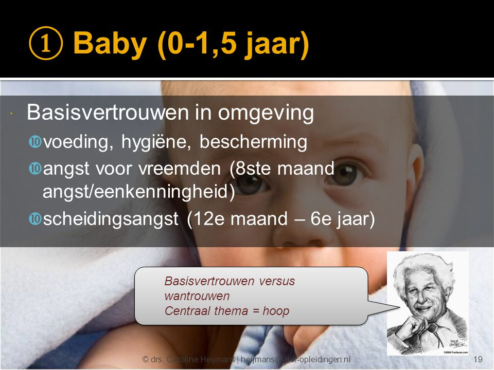 ① Baby (0-1,5 jaar) Basisvertrouwen in omgeving