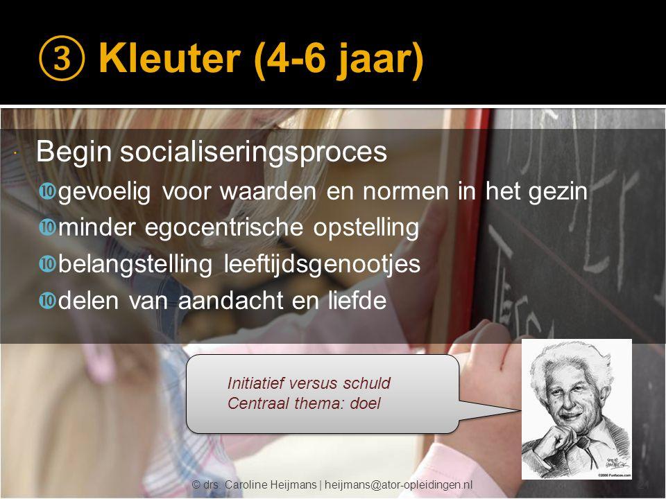 ③ Kleuter (4-6 jaar) Begin socialiseringsproces