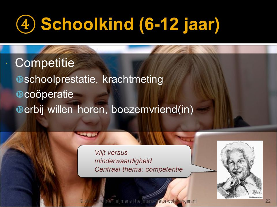 ④ Schoolkind (6-12 jaar) Competitie schoolprestatie, krachtmeting