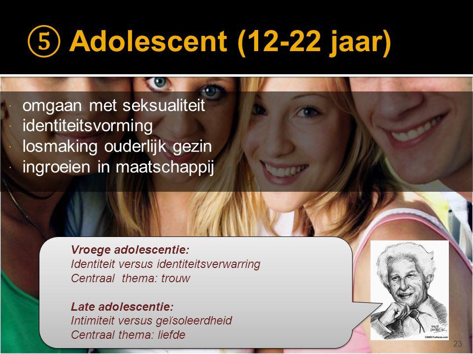⑤ Adolescent (12-22 jaar) omgaan met seksualiteit identiteitsvorming