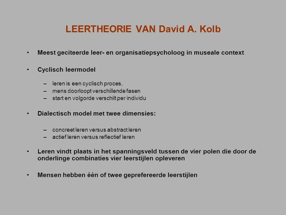 LEERTHEORIE VAN David A. Kolb