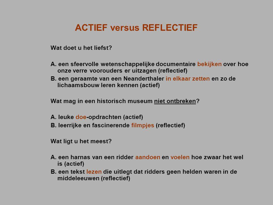 ACTIEF versus REFLECTIEF