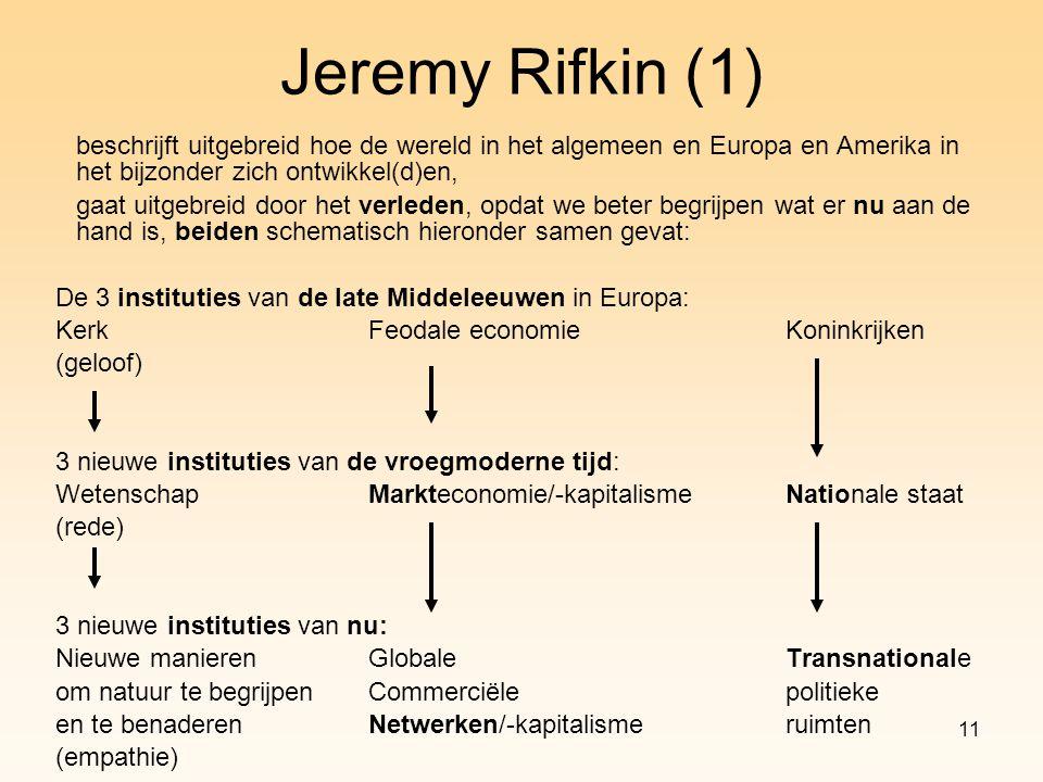 Jeremy Rifkin (1) beschrijft uitgebreid hoe de wereld in het algemeen en Europa en Amerika in het bijzonder zich ontwikkel(d)en,