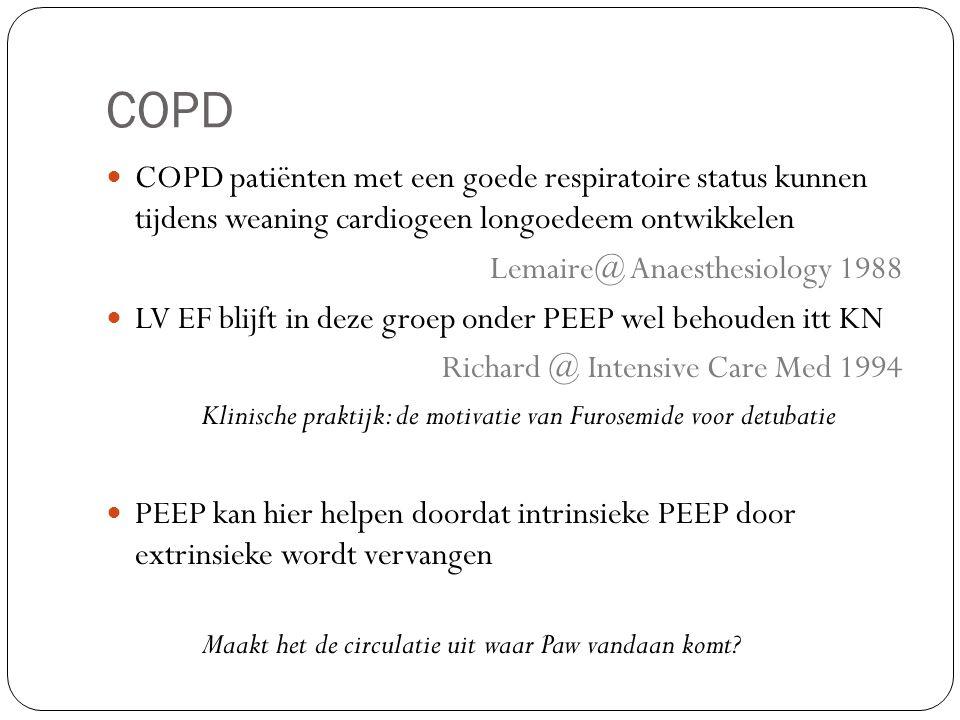 COPD COPD patiënten met een goede respiratoire status kunnen tijdens weaning cardiogeen longoedeem ontwikkelen.