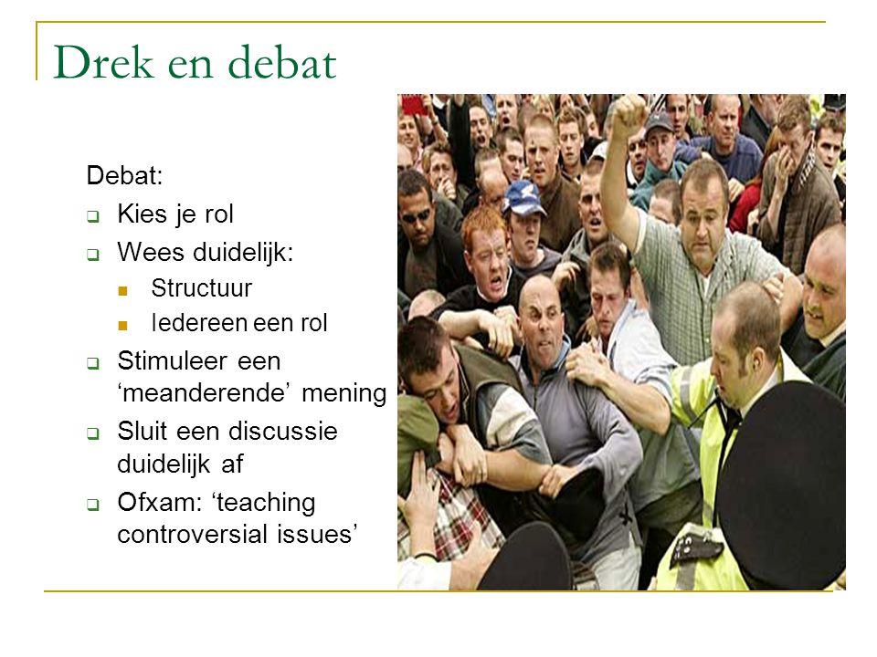 Drek en debat Debat: Kies je rol Wees duidelijk: