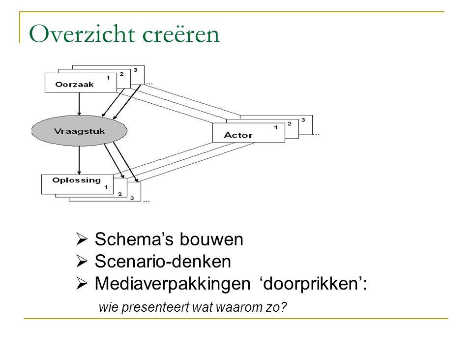Overzicht creëren Schema's bouwen Scenario-denken