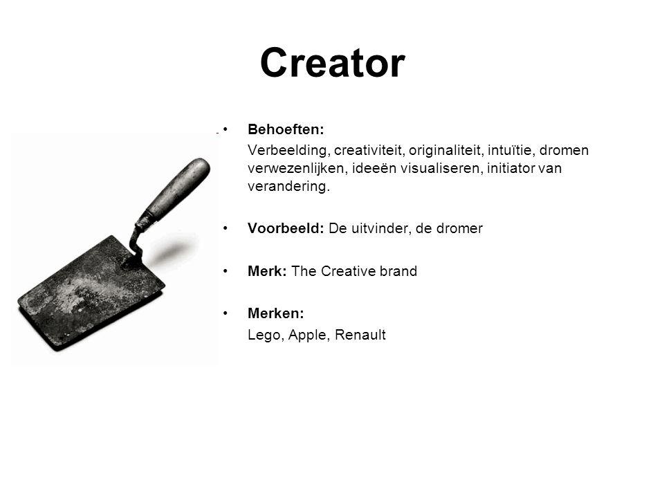 Creator Behoeften: Verbeelding, creativiteit, originaliteit, intuïtie, dromen verwezenlijken, ideeën visualiseren, initiator van verandering.