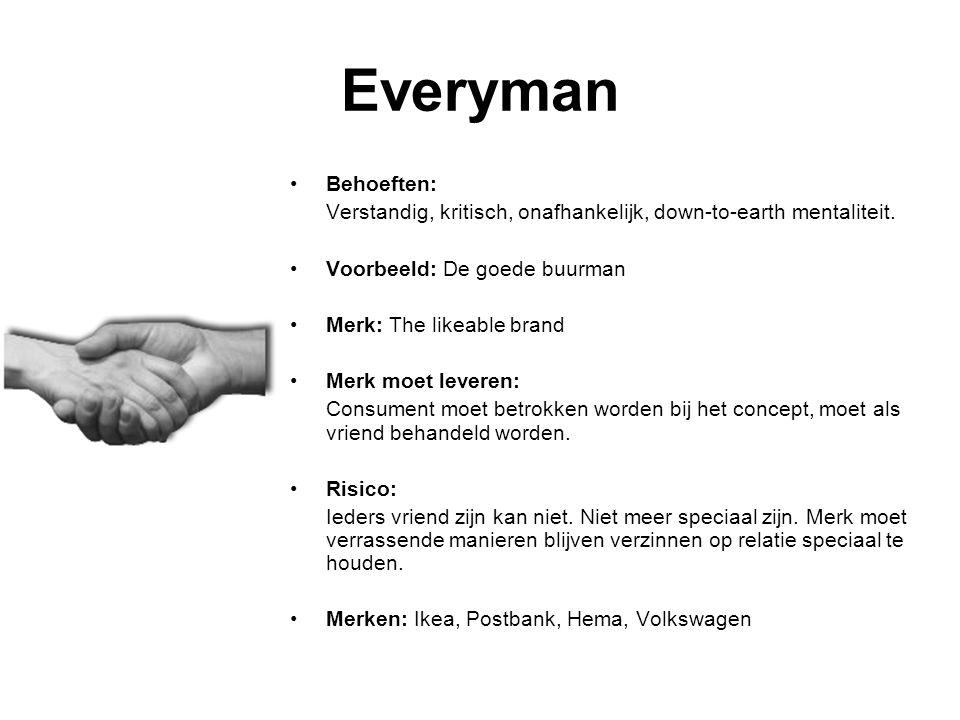 Everyman Behoeften: Verstandig, kritisch, onafhankelijk, down-to-earth mentaliteit. Voorbeeld: De goede buurman.