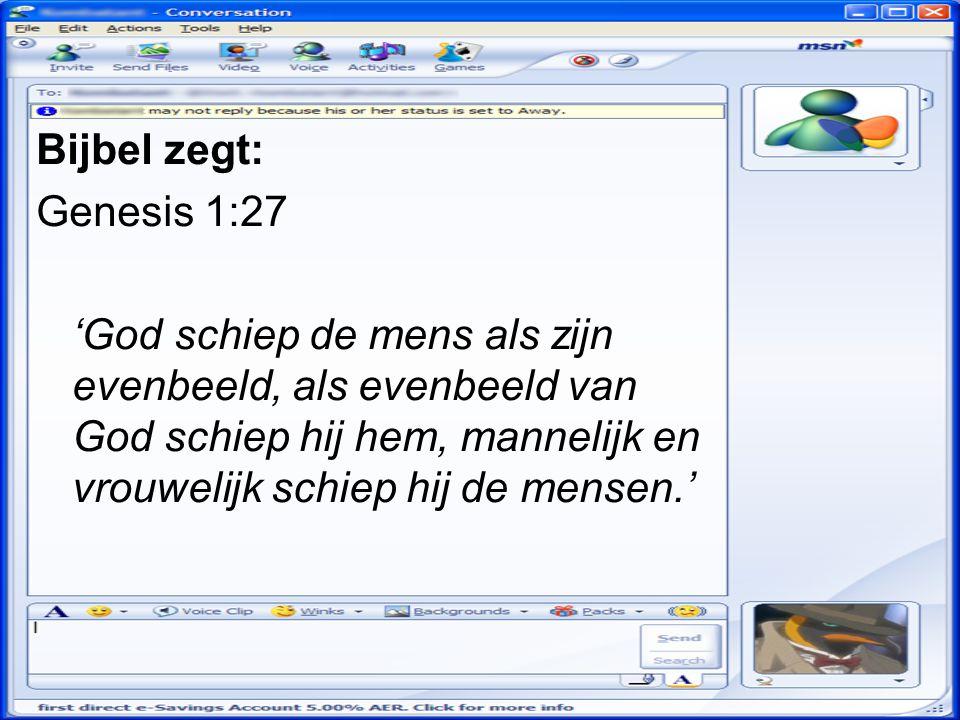 Bijbel zegt: Genesis 1:27