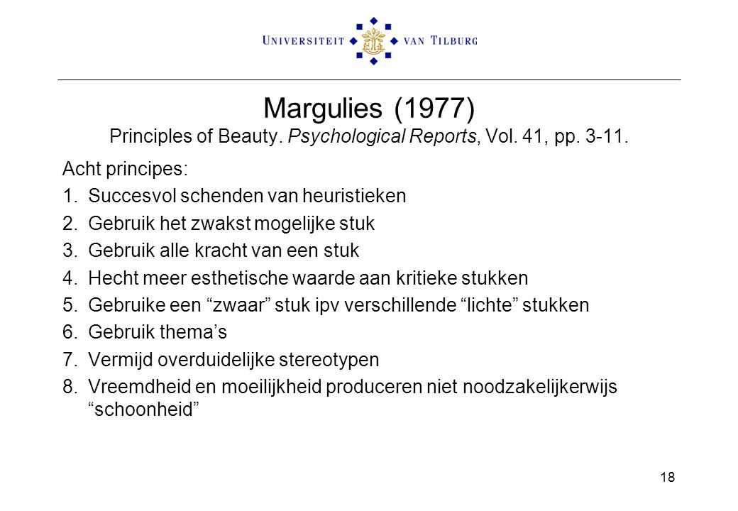 Margulies (1977) Principles of Beauty. Psychological Reports, Vol