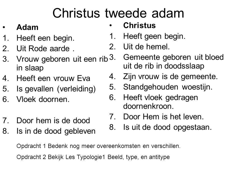 Christus tweede adam Christus Adam Heeft geen begin. Heeft een begin.