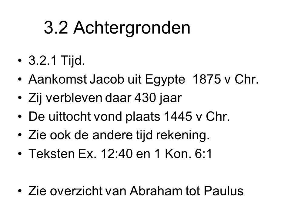 3.2 Achtergronden 3.2.1 Tijd. Aankomst Jacob uit Egypte 1875 v Chr.