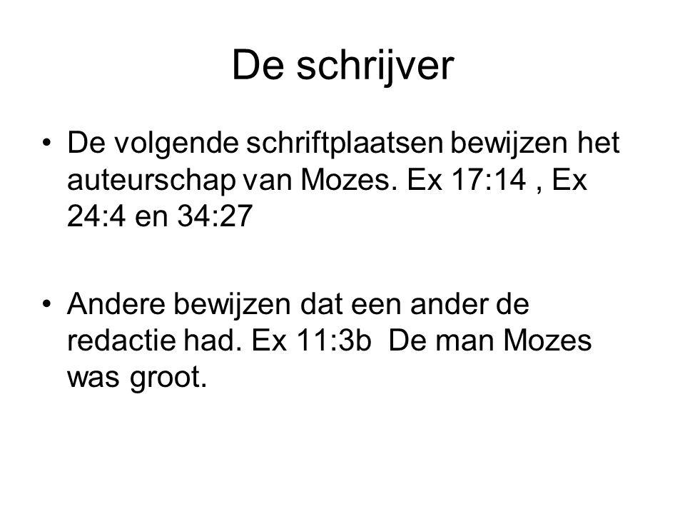 De schrijver De volgende schriftplaatsen bewijzen het auteurschap van Mozes. Ex 17:14 , Ex 24:4 en 34:27.