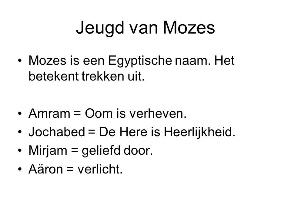 Jeugd van Mozes Mozes is een Egyptische naam. Het betekent trekken uit. Amram = Oom is verheven. Jochabed = De Here is Heerlijkheid.