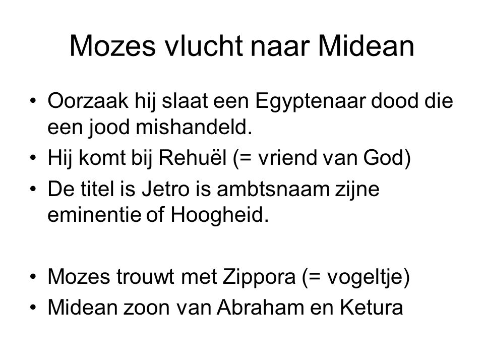 Mozes vlucht naar Midean