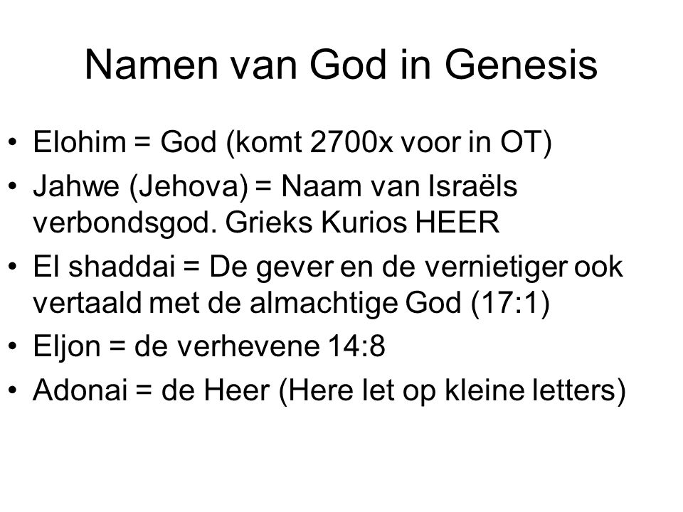 Namen van God in Genesis