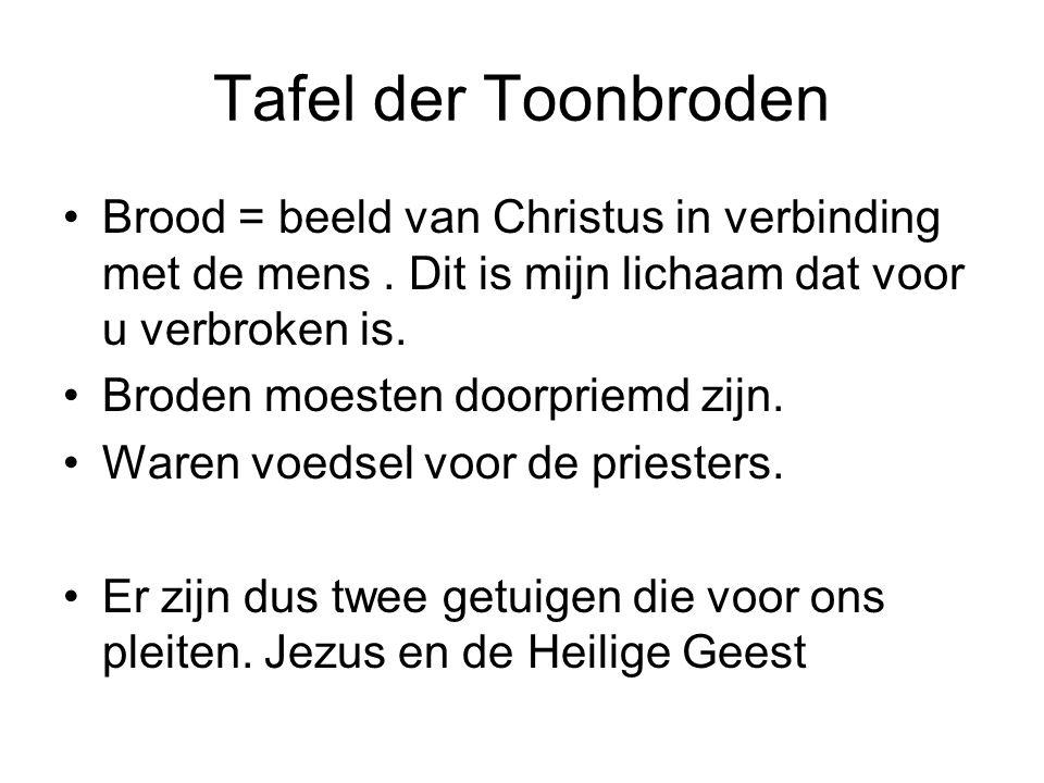 Tafel der Toonbroden Brood = beeld van Christus in verbinding met de mens . Dit is mijn lichaam dat voor u verbroken is.