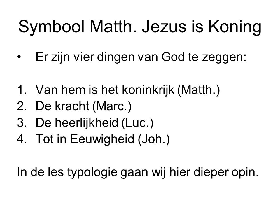 Symbool Matth. Jezus is Koning