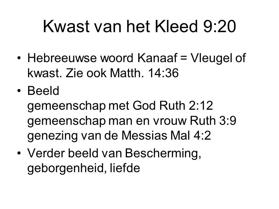 Kwast van het Kleed 9:20 Hebreeuwse woord Kanaaf = Vleugel of kwast. Zie ook Matth. 14:36.