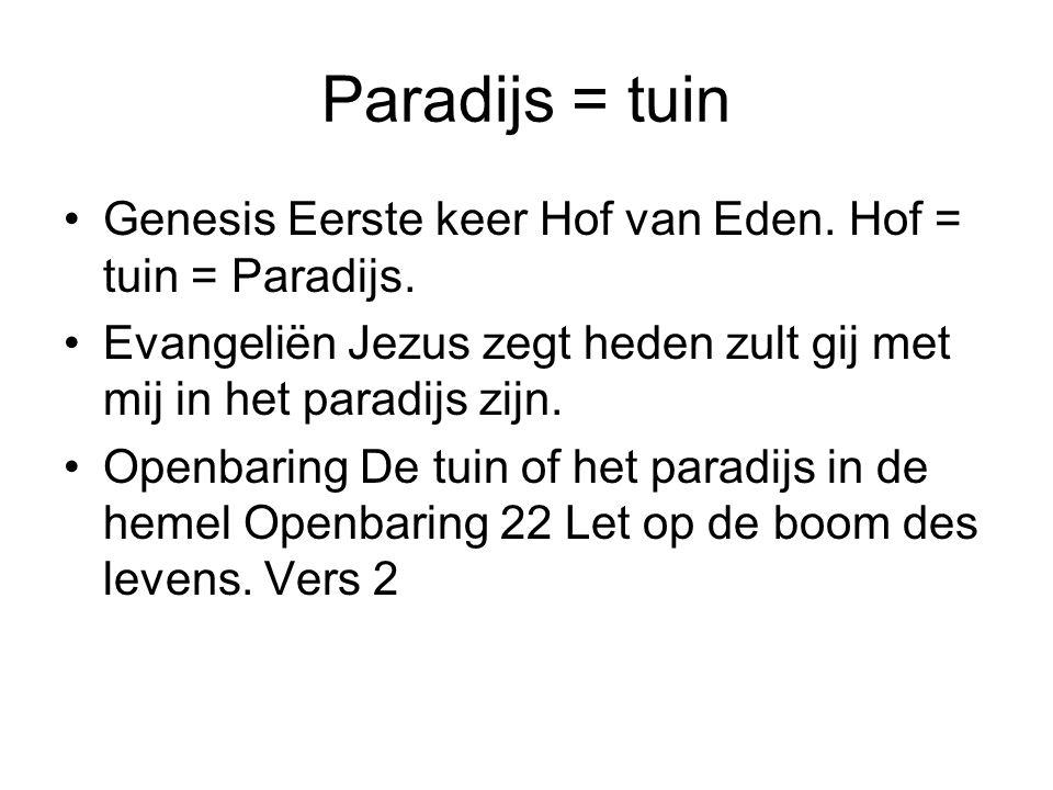 Paradijs = tuin Genesis Eerste keer Hof van Eden. Hof = tuin = Paradijs. Evangeliën Jezus zegt heden zult gij met mij in het paradijs zijn.
