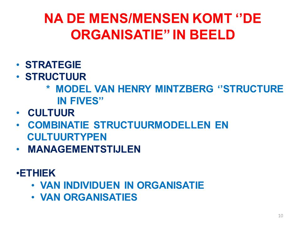 NA DE MENS/MENSEN KOMT ''DE ORGANISATIE'' IN BEELD