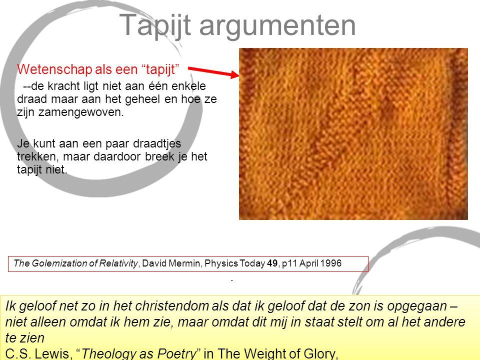 Tapijt argumenten Wetenschap als een tapijt