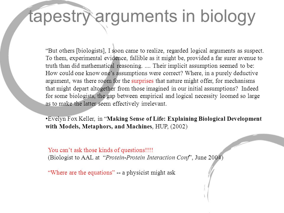 tapestry arguments in biology