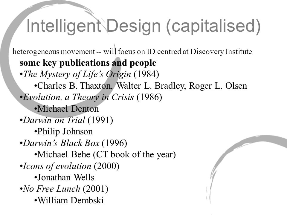 Intelligent Design (capitalised)