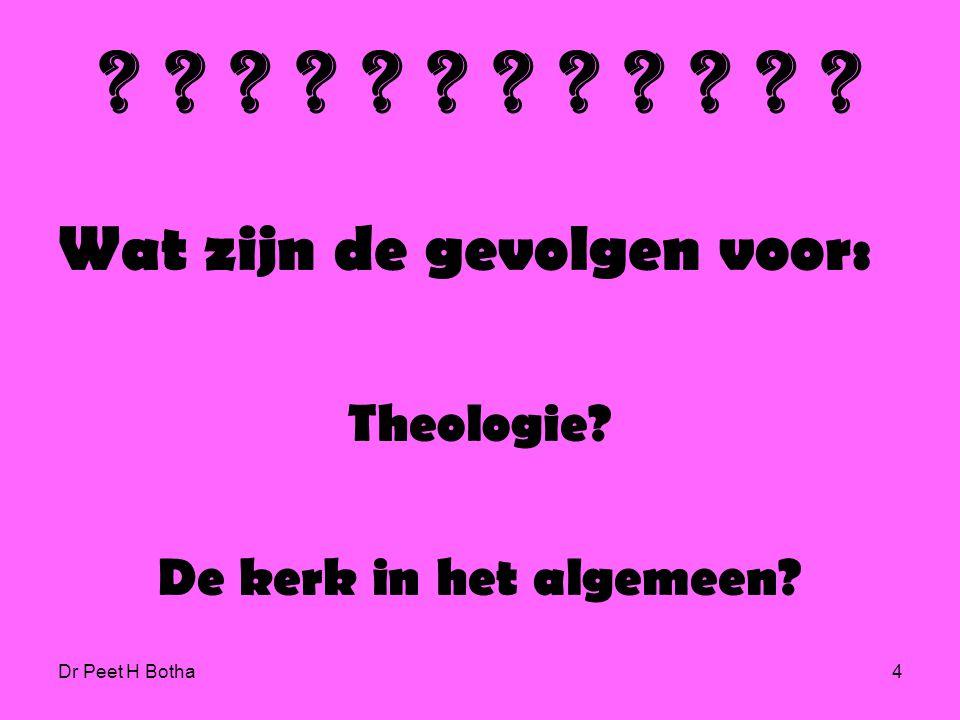 Wat zijn de gevolgen voor: Theologie