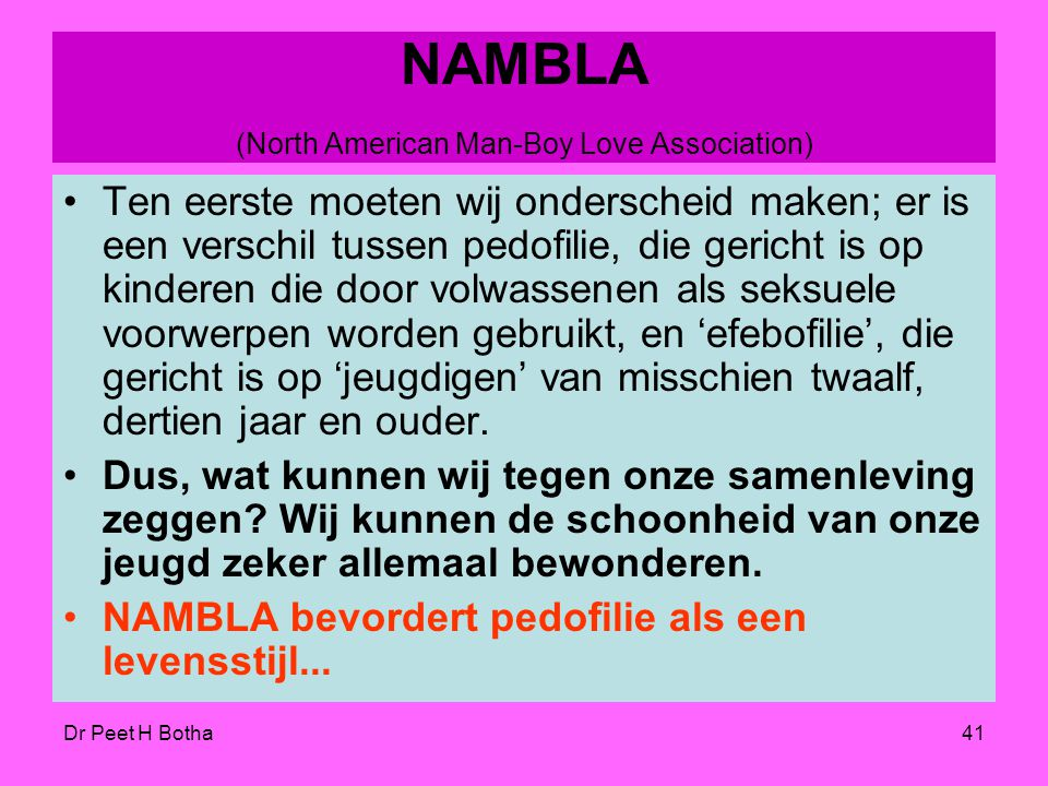 NAMBLA (North American Man-Boy Love Association)