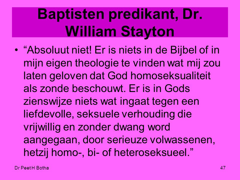 Baptisten predikant, Dr. William Stayton