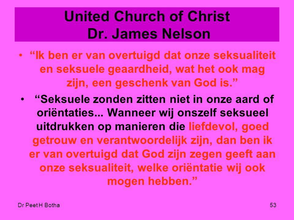 United Church of Christ Dr. James Nelson
