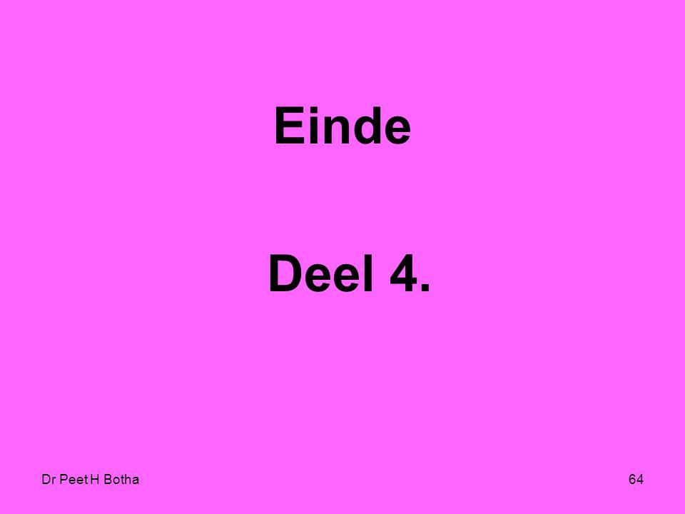 Einde Deel 4. Dr Peet H Botha
