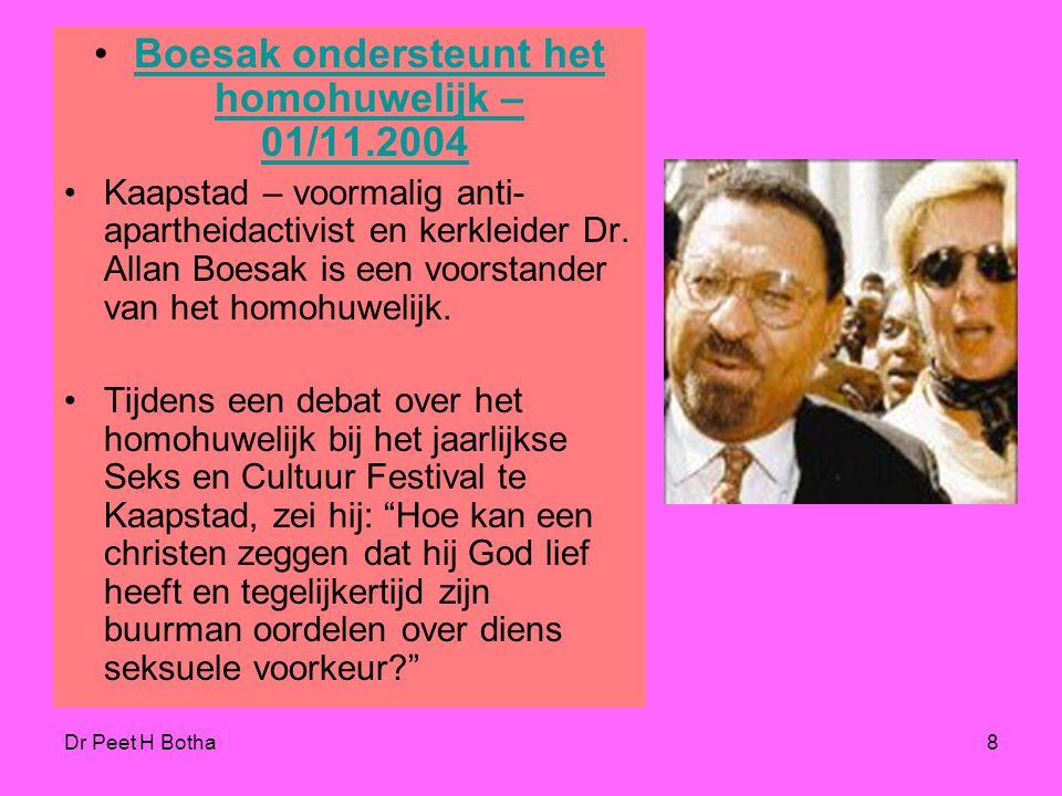 Boesak ondersteunt het homohuwelijk – 01/11.2004