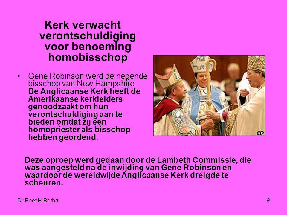 Kerk verwacht verontschuldiging voor benoeming homobisschop