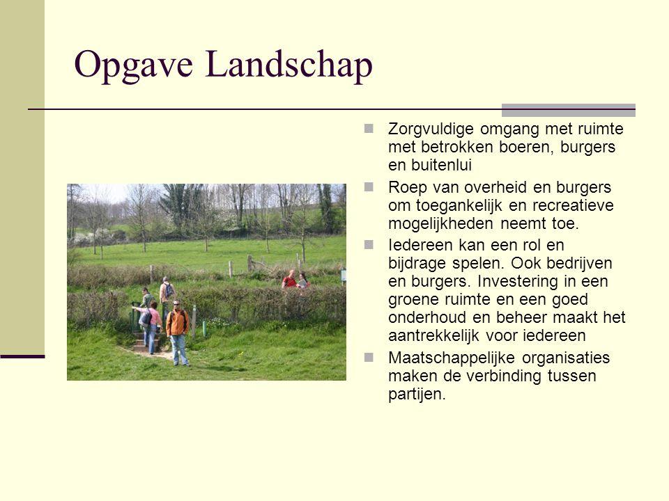 Opgave Landschap Zorgvuldige omgang met ruimte met betrokken boeren, burgers en buitenlui.