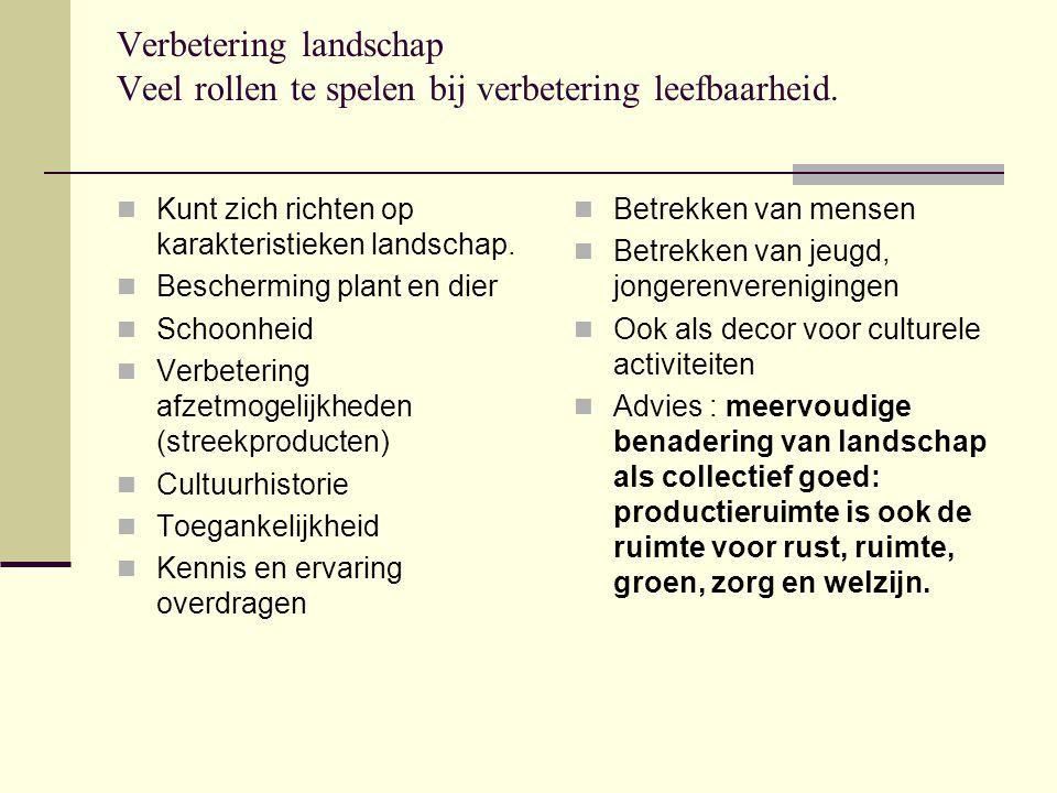 Verbetering landschap Veel rollen te spelen bij verbetering leefbaarheid.