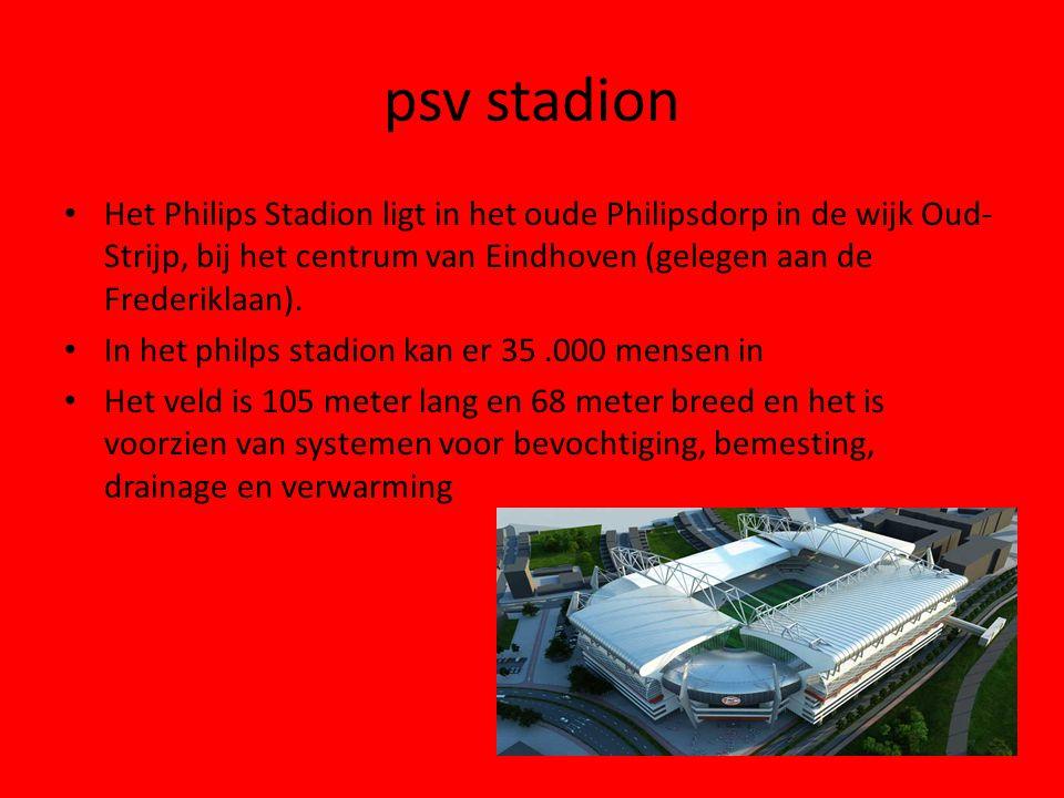 psv stadion Het Philips Stadion ligt in het oude Philipsdorp in de wijk Oud-Strijp, bij het centrum van Eindhoven (gelegen aan de Frederiklaan).