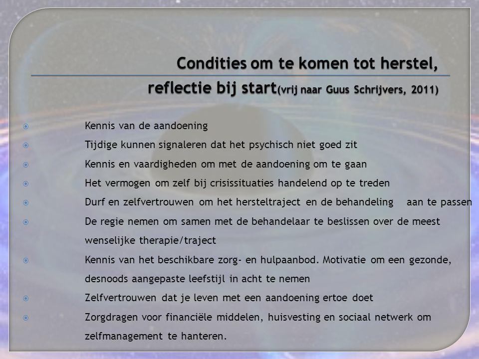 Condities om te komen tot herstel, reflectie bij start(vrij naar Guus Schrijvers, 2011)