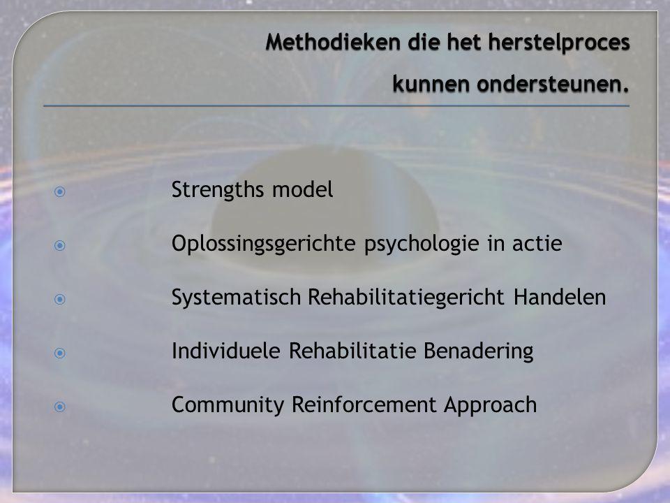 Methodieken die het herstelproces kunnen ondersteunen.