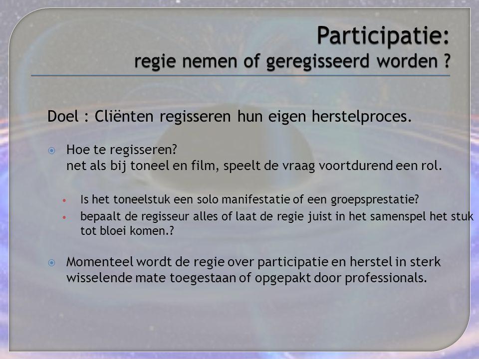 Participatie: regie nemen of geregisseerd worden