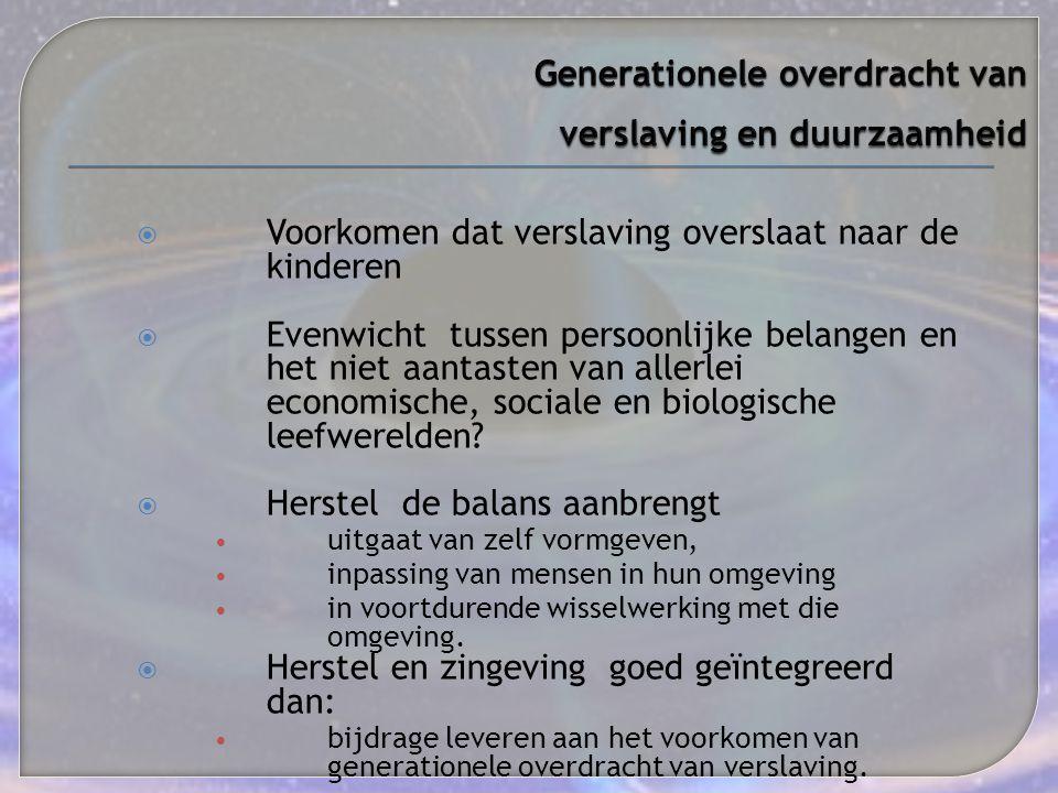 Generationele overdracht van verslaving en duurzaamheid