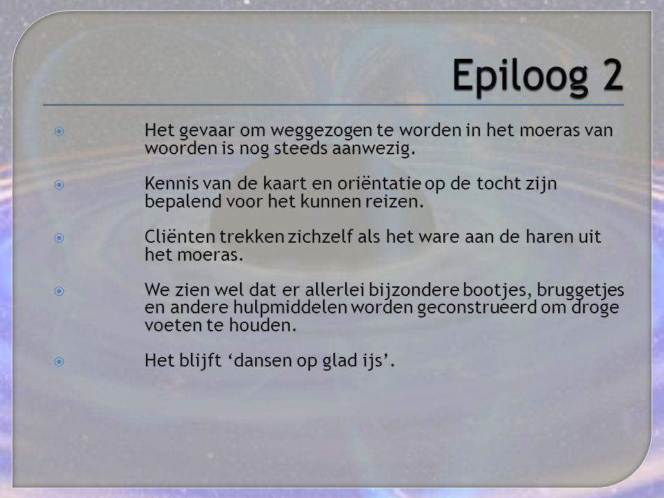 Epiloog 2 Het gevaar om weggezogen te worden in het moeras van woorden is nog steeds aanwezig.