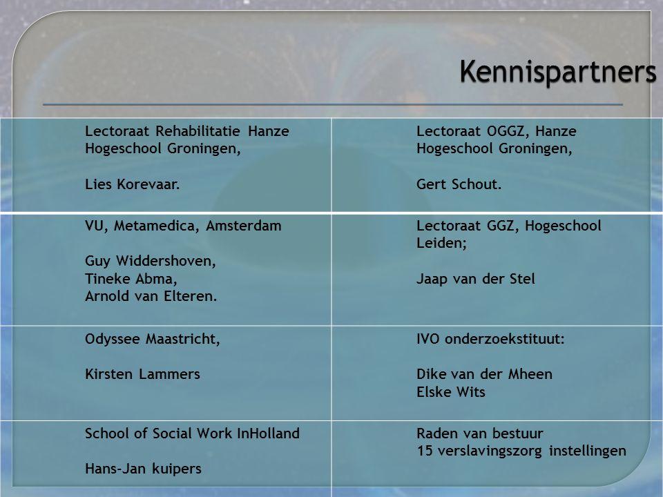 Kennispartners Lectoraat Rehabilitatie Hanze Hogeschool Groningen,