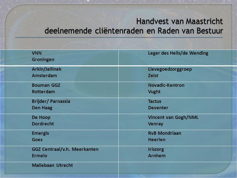 Handvest van Maastricht deelnemende cliëntenraden en Raden van Bestuur